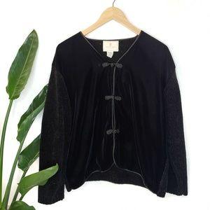 Vintage 90s Express Tricot Black Velvet Cardigan